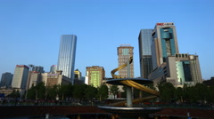 4k timelapse of Tianfu Square central business district in Chengdu,Sichuan,China Stock Footage
