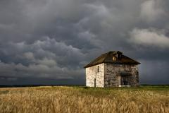 Storm Clouds Prairie Sky Stone House Stock Photos