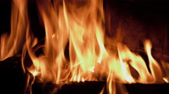 Fire burning in a fireplace - stock footage