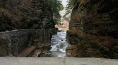 Small falls in slate canyon Ithaca, New York Stock Footage