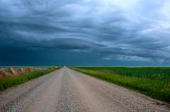 Storm Clouds Prairie Sky - stock photo