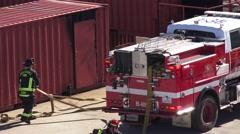 MOCK DISASTER , firemen rescue help Stock Footage