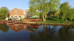 Beautiful De Pere Wisconsin waterfront area, college, river, bridge Stock Footage