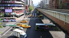 Time lapse of downtown traffic with cars on road and subway trains on track Stock Footage