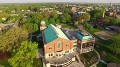 Beautiful De Pere Wisconsin waterfront area, college campus, aerial view. Stock Footage