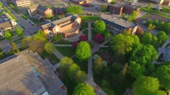 Beautiful college campus at daybreak, aerial view. Stock Footage