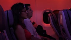 Passengers On Plane With Turbulance Stock Footage