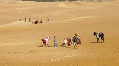 Zoom Out - Tourists in the Desert with Camels & Guides Stock Footage