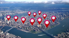 Aerial Manhattan Real Estate GPS Markers - stock footage