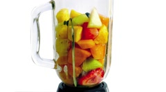 Fruit Smoothie Blended And Poured In Glass Stock Footage