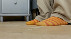 Feet morning in out floor pov scratch Stock Footage