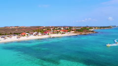 Aerial from fun tube ocean ride at Aruba island in the Caribbic Stock Footage