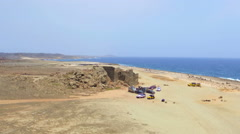 Aerial from ancient gold mines on Aruba island in the Caribbean - stock footage