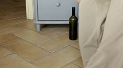 Feet wake up hard day wine Stock Footage