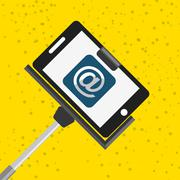 selfie with monopod design - stock illustration