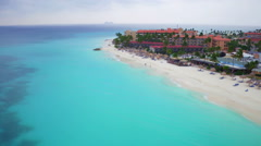 Aerial from Manchebo beach on Aruba island in the Caribbean - stock footage