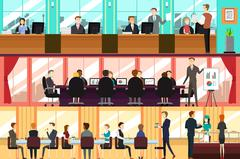 Businesspeople in an Office - stock illustration