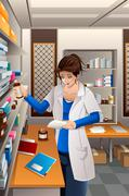 Pharmacist Working in the pharmacy - stock illustration