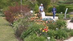 Epic vibrant flowers and tulips blooming in Edwards gardens Toronto Stock Footage