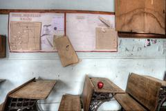 Abandoned School House red apple - stock photo