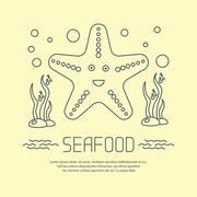 Seafood icon with starfish and seaweed - stock illustration