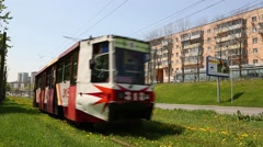 Old tram on the street of Vladivostok, Russia Stock Footage