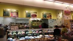 4K Market bakery birthday cakes, dessert pastry Stock Footage
