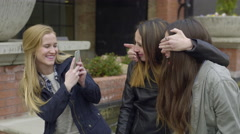 "Girls Pose, ""See No Evil""/""Speak No Evil,"" For A Photo Stock Footage"