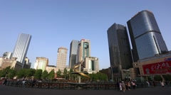 Tianfu Square central business district in Chengdu, Sichuan, China, Stock Footage
