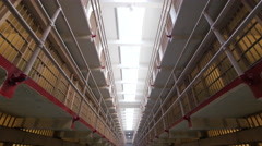 Alcatraz prison cells wide angle walking dolly moving POV Stock Footage