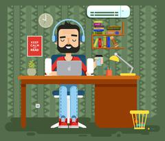 character programmer, copywriter, gamer, freelancer, designer, man in headphones - stock illustration