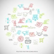 Multicolor doodles Hand Drawn Politics Icons set on White. EPS10 vector - stock illustration