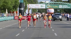 Women runners warming up before a Race Stock Footage