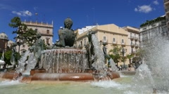 The Turia Fountain in Valencia, Spain Stock Footage