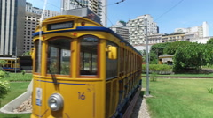 Rio de Janeiro railway tram station. View from the tram on Downtown area Stock Footage