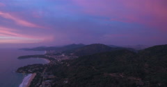 Karon & Kata Viewpoint In Phuket Sunset Aerial Pan Drone Footage Stock Footage