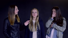 Friends Make Funny Faces And Interact (On Black Background) - stock footage