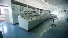 4K Interior view of system control panel in power plant control room. No people. Stock Footage