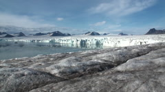 Panorama glacier on border with ocean. Arctic. Stock Footage