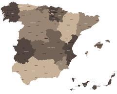Map of Spain - stock illustration