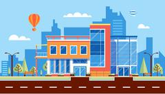 city street with administrative building, modern architectures, office building - stock illustration