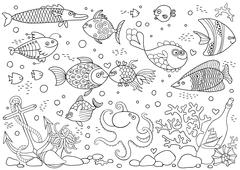 Coloring of underwater world. Aquarium with fish, octopus, corals, anchor - stock illustration
