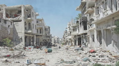 Syria Pan Dolly shot aftermath destroyed city Stock Footage