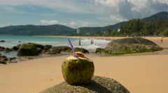 Fresh coconut with drinking straw on tropical beach, Time Lapse Stock Footage