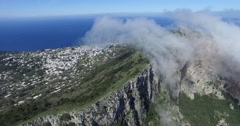 CINEMATIC ROLLING CLOUDS OVER STEEP ROCK CLIFFS IN CAPRI ISLAND Stock Footage