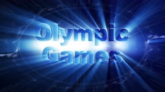 OLYMPIC GAMES Text Animation Lights Rays Explosion, Loop, 4k Stock Footage