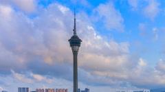 Macau Tower And Macau Bridge Landmark Of Macau China (zoom out) - stock footage