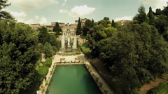 Villa in Rome, Tivoli. Drone aerial video. Camera go away. N. - stock footage