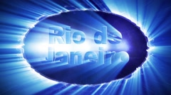 RIO DE JANEIRO Text Animation Lights Rays Explosion, Loop, 4k Stock Footage