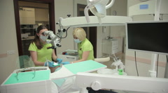 Dentist Exam With Microscope - stock footage